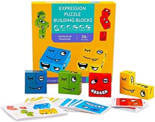 HOWADE Wooden Expressions Matching Block Puzzles Building Cubes Toy Educational Montessori Toys for Kids Ages 3 Years and Up