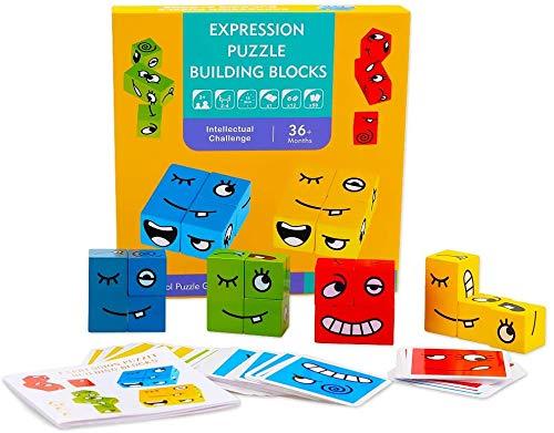 Bunte Zauberwürfel-Bausteine,Spielzeug Gesicht ändern Würfel,Brettspiel-Holz-Herausforderung,Holzpuzzle Lustiges Bausteine,Denk-Training Lernspielzeug,Holzwürfel Spielzeug