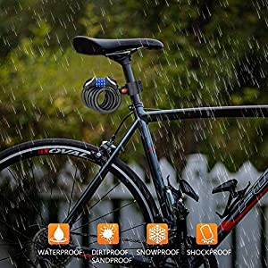 Cerradura Para Bicicletas, Winzwon Candado de Bicicleta con Código de 4 Dígitos con Luz de Noche LED Candado Bicicleta Para Motocicleta, Portón, Valla, Scooter, Bicicleta (125 cm/12 mm)