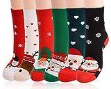 Fascigirl Calcetines de Navidad 6 Pares Calcetines Mujer Divertidos Calcetines Termicos Mujer Invierno Calcetines Señora Navidad Calcetines para Niña Regalo Navidad