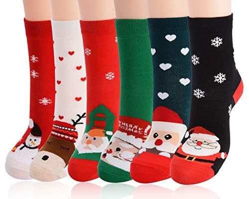 Meias de Algodão de Natal, 6 Pares de Meias Divertidas de Natal Estampadas Meias 3/4 Macias e Quentes de Inverno Casual para Mulheres Homens
