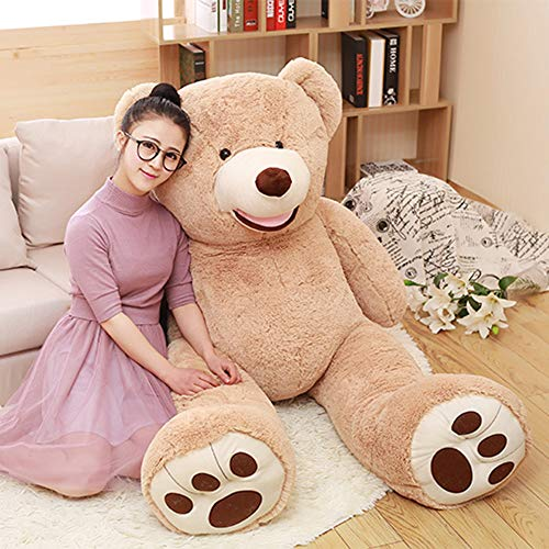DOLDOA Big Teddy Bear Stuffed Animals with Footprints Plush Toy for Girlfriend 51 inch (Brown)