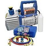 Smartxchoices 4 CFM Electric Single-Stage Rotary Vane Deep Vacuum Pump & 1/4HP HVAC A/C Refrigeration Kit AC Manifold Gauge Combo Set R410a/R134a (4 CFM + Manifold Gauge)