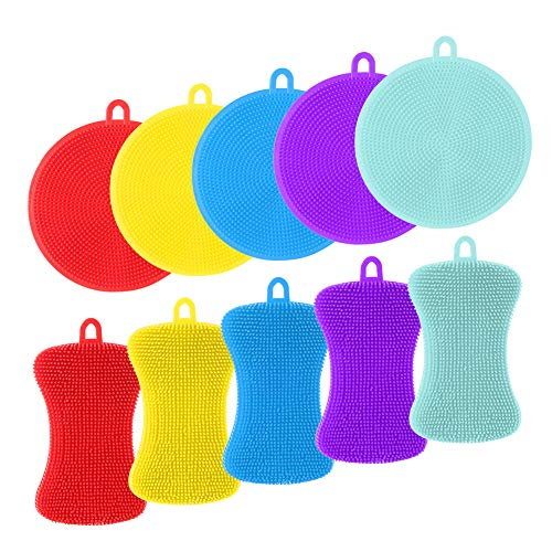 fanshiontide 10 Piezas Esponja de Cocina de Silicona Esponja de Silicona Multifunción Antibacteriana Cepillo para Silicone Kitchen Sponge Multiuso Cepillo de Limpieza Antibacterias(5 colores)