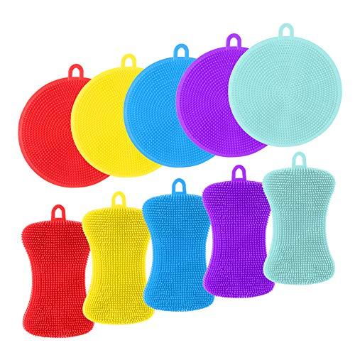 gigitube 10 Stück Silikon Schwamm, Küchenschwamm Scheuerschwämme Multi-Purpose Schwamm Reinigungsbürste Silicone Sponge für Küche, Bad