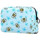 Bolsa de maquillaje de viaje con diseño de abeja y flores, bolsa de maquillaje grande, organizador con cremallera para mujeres y niñas