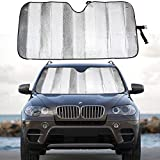 MCBUTY Windshield Sun Shade for Car Silver Thicken 5-Layer UV Reflector Auto Front Window Sunshade Visor Shield Cover and Keep Your Vehicle Cool(57' × 27.5')