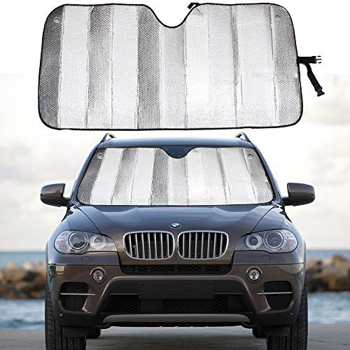 MCBUTY Windshield Sun Shade for Car Silver Thicken 5-Layer UV Reflector Auto Front Window Sunshade Visor Shield Cover and Keep Your Vehicle Cool(55' × 27.5')