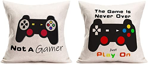 "MEHOTOP Set of 2 18""X18"" Cotton Linen GameMachine Throw Pillow Covers GameMachine Modern Design Cushion Case Not a Gamer..."