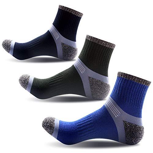 JEPOZRA Calcetines deportivos de alto rendimiento para hombre o mujer.(3 pares) Hombres Senderismo Calcetines para Trekking Camping Ciclismo Tenis, Transpirable, Antideslizante, Anti-ampollas