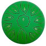 asdfwe Lengua Tambor De Acero, 6 Tambor 11 Notas De Instrumentos De Percusión De Mano Etéreo Pulgadas Pan Percusión con 2 Baquetas De 6 Finger Bolsa De Transporte Y Parachoques (Verde)