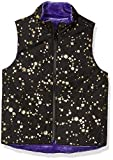 Spotted Zebra Reversible Plush Vest Outerwear-Jackets, Black Gold Star/Purple, XS