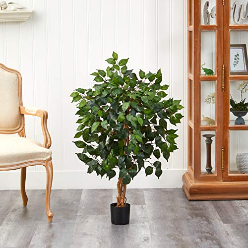 Product Image 2: Nearly Natural 3′ Ficus Silk Artificial Trees, 36in, Green