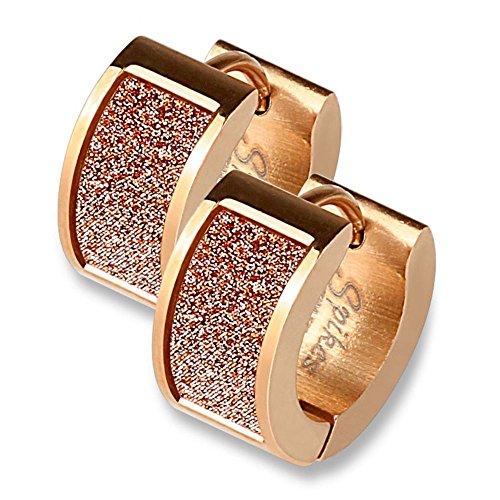 Bungsa ROSEGOLD Glitzer Ohrringe - aus nickelfreiem Edelstahl - 1 Paar CREOLEN rosé für Damen, Frauen & Mädchen - edler Glitter Ohrschmuck - schimmernde Klappcreolen