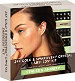 Ear Seeds: Stress and Anxiety 24K Gold & Swarovski Crystal EarSeeds Kit – 40 Pcs. 24K Gold + 20 Pcs. with Swarovski – Precision Tweezers – Complete Ear Acupressure Chart for Stress and Anxiety Relief