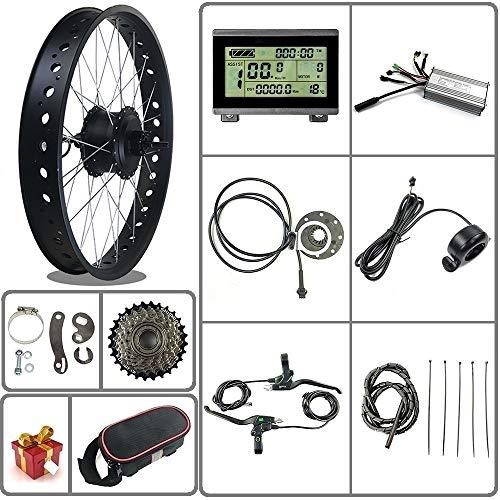 Ricetoo 36V / 48V 500W Kit de conversión de Bicicleta eléctrica para Bicicleta de Nieve/neumático Gordo Motor de Cubo Giratorio Trasero de Rueda de 20/26 Pulgadas con Pantalla LCD3 (Negro, 20inch)