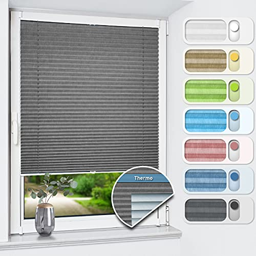 Plissee ohne Bohren verdunkelung, Thermo Plisseerollo Klemmfix, Grau 85x120cm, Verdunklungsplissee 100% lichtundurchlässig für Fenster und Tür, Blickdicht Sichtschutz Sonnenschutz