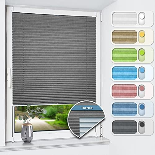 HOMEDEMO Plissee ohne Bohren verdunkelung, Thermo Plisseerollo Klemmfix, Grau 80x120cm, Verdunklungsplissee 100% lichtundurchlässig für Fenster und Tür, Blickdicht Sichtschutz Sonnenschutz