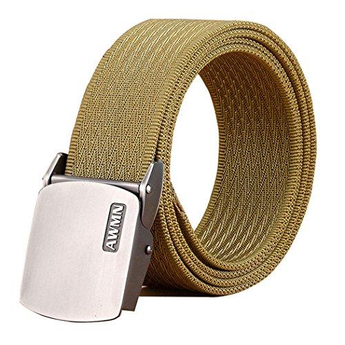 Fairwin Cintura Tattica in Tela in Stile Militare da Uomo, Tessuto in Nylon Cintura con Fibbia in Confezione Regalo (Marrone - Fibbia in metallo)