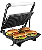 Aicok Panini Press, 4 Slice Non-Stick Sandwich Maker, 3 in 1 Stainless Steel