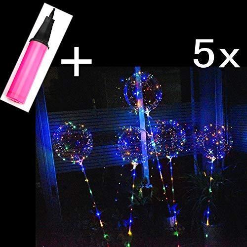 JZK Set 5 Transparante 40 cm 15 inch Gigantische LED-lichtballon met 70cm Paal + 3 meter Zilveren Draad LED-snaarlicht + Ballonpomp voor Bruiloftsdecoratie