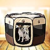 Easylifer Tragbare Falten Stoff Pet Play Pen Welpen-Hundekatze Kaninchen Meerschweinchen Playpen Run Playpen Crate Cage Kennel Spielen Ten (S, Kaffee) - 6