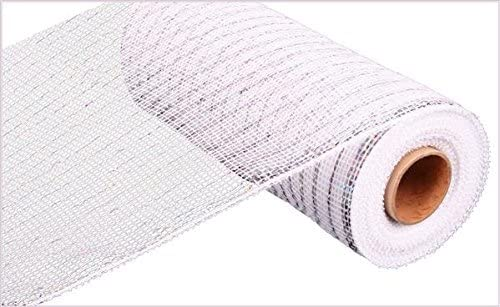 famous 10 inch x 30 feet Deco Poly Ribbon Mesh White Value Sil - Be super welcome