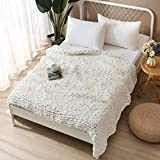 """Chunky Knit Blanket, 100% Hand Made from Supremely Soft Chenille Chunky Yarn, Chenille Throw Blankets Perfect for Cuddling in Bed or Couch (White, 60""""X80"""")"""