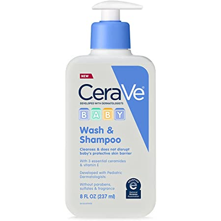 CeraVe Baby Wash & Shampoo | Fragrance, Paraben, & Sulfate Free Shampoo for Tear-Free Baby Bath Time | 8 Ounce | Packaging May Vary