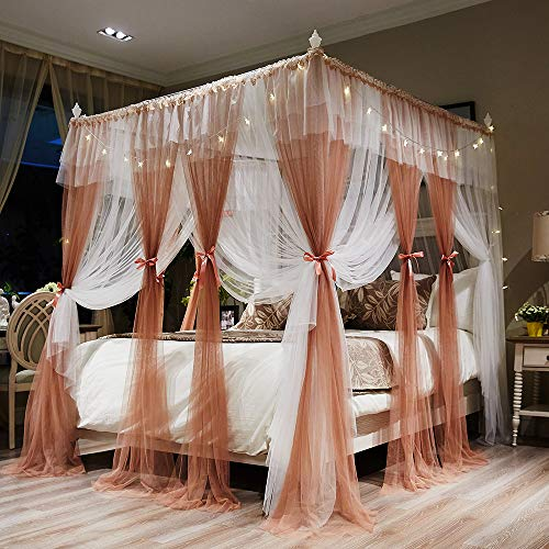 Joyreap 4 Corners Post Canopy Bed Curtains for Adults - Coral & White Cozy Drape Netting - 4 Openings Mosquito Net - Cute Princess Style Bedroom Decoration Accessories(Reddish Brown,86'W x 78'L, King)