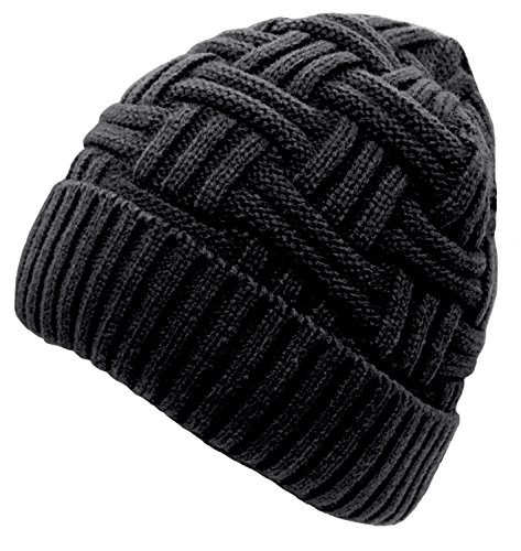 Loritta Winter Hat Warm Knitted Wool Thick Baggy Slouchy Beanie Skull Cap for Men Women Gifts,1 Pack Black