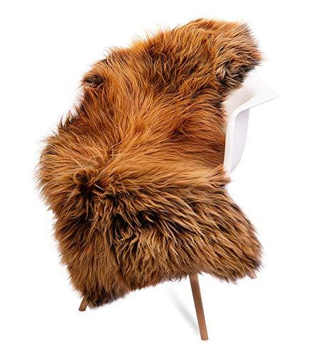 ESTRO Schapenvacht Fluffy Donzig Wit Bruin Crème Vloerkleed voor Slaapkamer Schapenvacht Echt Dieren Deken ESZ (110 cm, Alpaka)