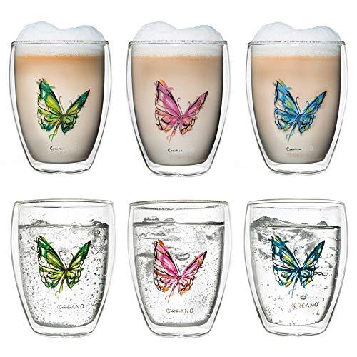 Creano doppelwandiges Tee-Glas, Latte Macchiato, Thermobecher Schmetterling | 250ml in exklusiver Geschenkbox (6er Set)