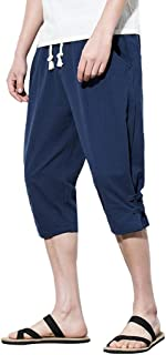 0cd740e7e1 wodceeke Summer Men Workout Shorts Elastic Waist Drawstring Summer Casual  Slim Linen Short Pants