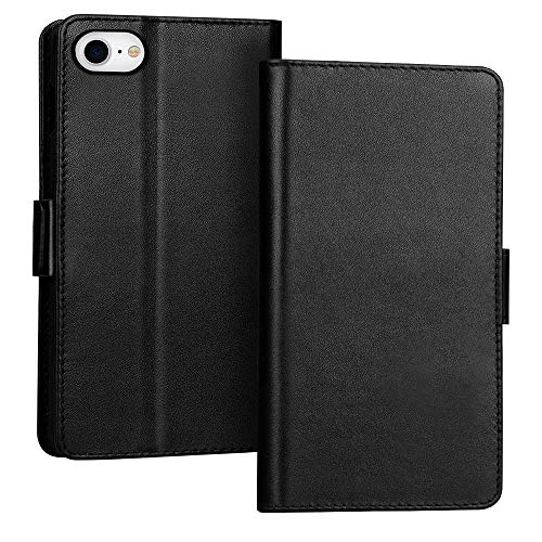 """FYY Case for iPhone SE 2020, iPhone 7/8 4.7"""", Luxury [Cowhide Genuine Leather][RFID Blocking] Wallet Case Cover with [Kickstand Function] and[Card Slots] for iPhone SE 2020, iPhone 7/8 4.7"""" Black"""