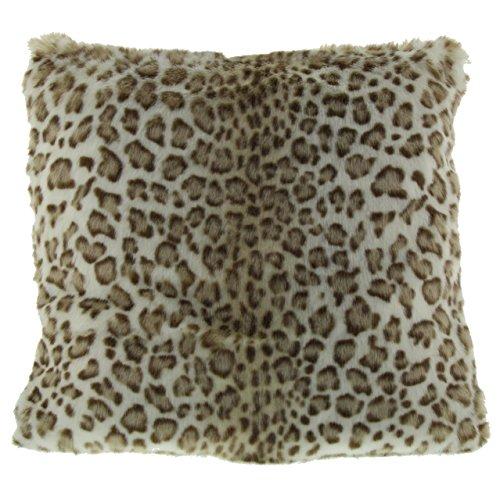 Gözze 40075-5151 Housse de Coussin Aspect Fourrure Motif léopard des neiges Blanc/Marron 50 x 50 cm