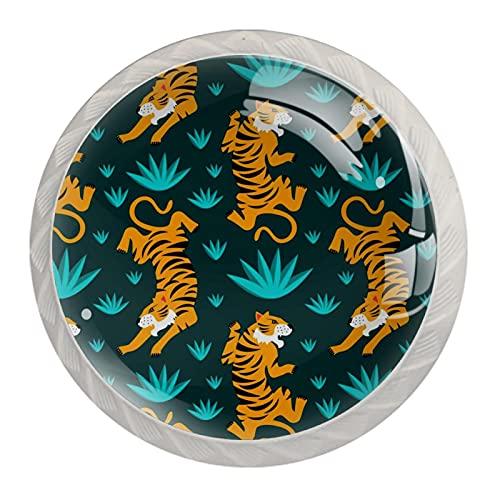 Wild Tiger Pattern - Tirador de cristal redondo para cajones