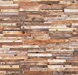 Timberwall - Reclaimed Collection Stripes - DIY Wood Wall Panels - Solid Salvaged and Upcycled Wood - Nails and Staples Application - 7.4 Sq Ft