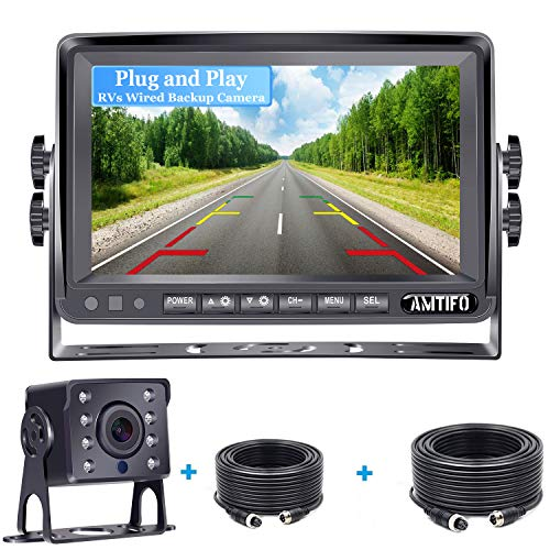 AMTIFO A13 HD RV Backup Camera with 7 Inch Monitor for Trailers,Trucks,Campers,Motohomes,5th Wheels,Super Night Vision,Guide Lines On/Off