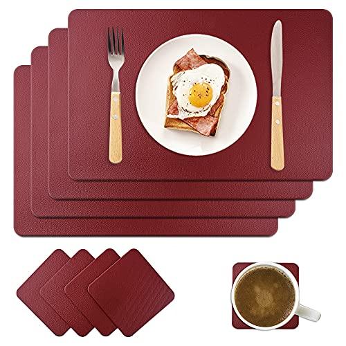 MAOOY - Set di 4 tovagliette in ecopelle PU, lavabili con 4 sottobicchieri quadrati, 45 x 30 cm, per cucina, famiglia, colore: rosso vino