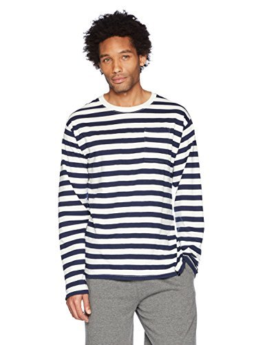 Flying Ace Men's Crew Neck Jersey Stripe Long Sleeve T-Shirt With Pocket x-Large ECRU With Navy Stripes