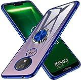 kadixini Moto G7 Power Hülle Clear Soft Silikon Hülle Ultra Dünn TPU Bumper Hülle 360 Grad Ring Stand Magnetische Autohalterung Schutzhülle für Transparent Anti-Fingerabdruck Anti-Kratzer