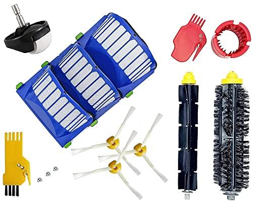 Juego de 15 accesorios de repuesto para iRobot Roomba 600 Serie Aspiradora, accesorio de repuesto para robot serie 600 cepillos rodillo rueda filtros