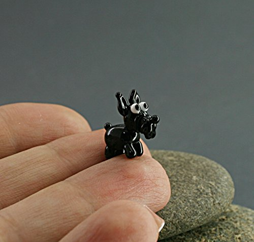 Schnauzer dog miniature sculpture figurine, puppy, bead/fairy garden supply kit terrarium accessory glass lampwork tiny pet animal