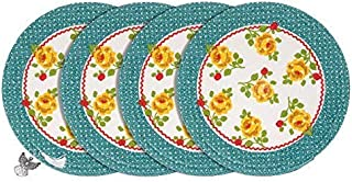 Luvial Desings Country Fresh Vintage Floral Braided Round Placemat Set of 4-pc by Lisa Audit with Angel Book Mark/Ornament (Dot Floral)