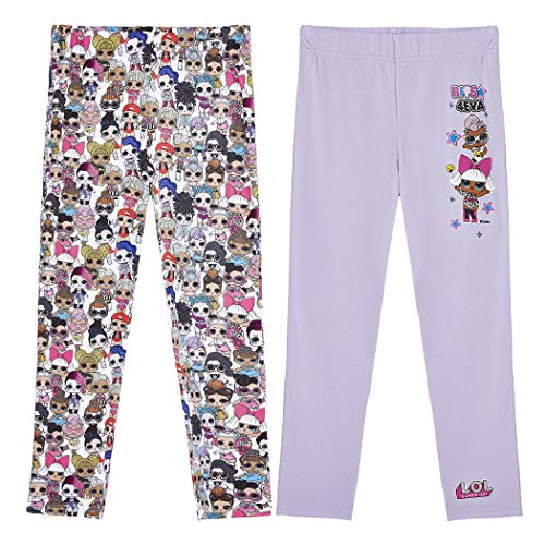 L.O.L. Surprise ! LOL Surprise Leggings für Mädchen | Sportswear Strumpfhose Hose Gamaschen für Kinder | Geschenke für Mädchen 4- 12 Jahre (7/8 Jahre, 2Er-Pack)