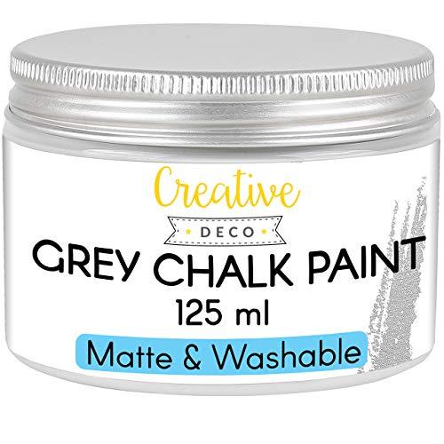 Creative Deco Gris Pintura de Tiza   125 ml   Mate y Lavable Renovación de Muebles, Decoración y Decoupage   Posible Efecto de Gradiente