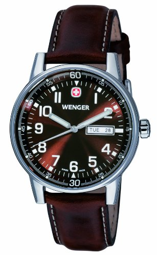 Wenger Herren-Armbanduhr XL Commando Day Date Analog Quarz Leder 70162.XL