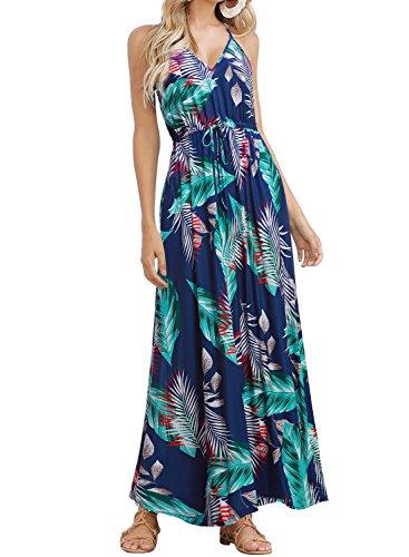 HUSKARY Womens Sleeveless V Neck Spaghetti Strap Pockets Beach Boho Tropical Summer Maxi Dress Blue