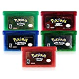 Pokemon 5 Pcs GBA Game Series - Sapphire ruby emerald flaming red version green leaf version Compatible with GBM / GBA / SP / NDS / NDSL (copy game card)